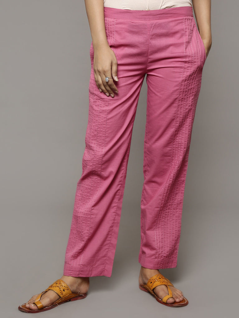 Mauve Pin Tuck Cotton Pants