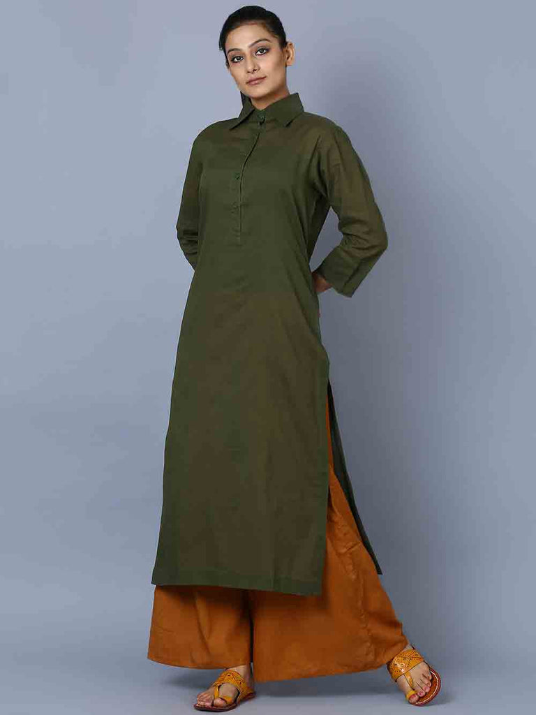 Green Brown Mulmul Kurta and Palazzo - Set of 2