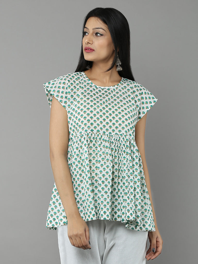 Mint Green Block Printed Mulmul Cotton Top