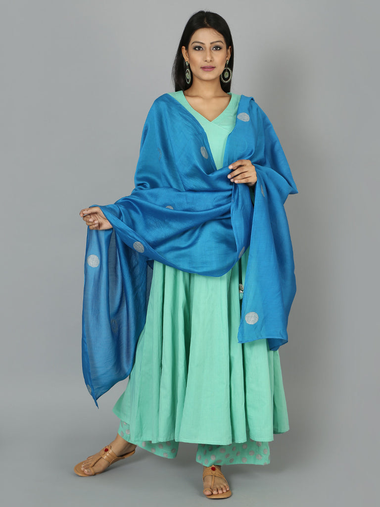 Mint Green Blue Cotton Anarkali Suit  - Set of 3