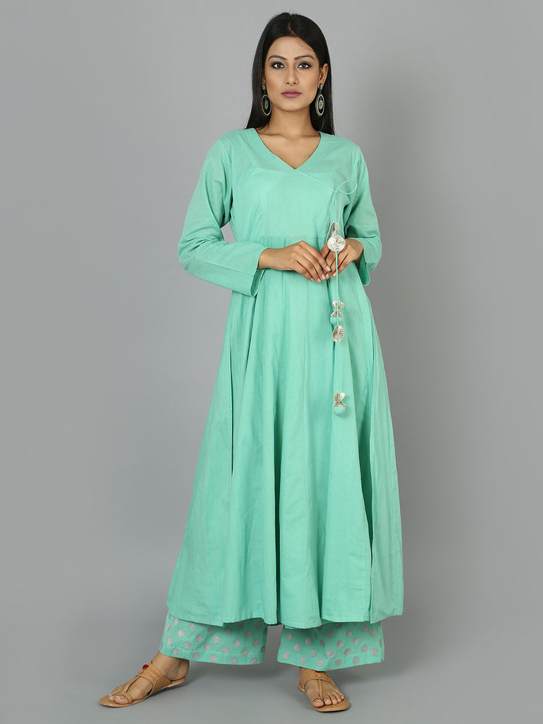 Mint Green Cotton Anarkali Kurta