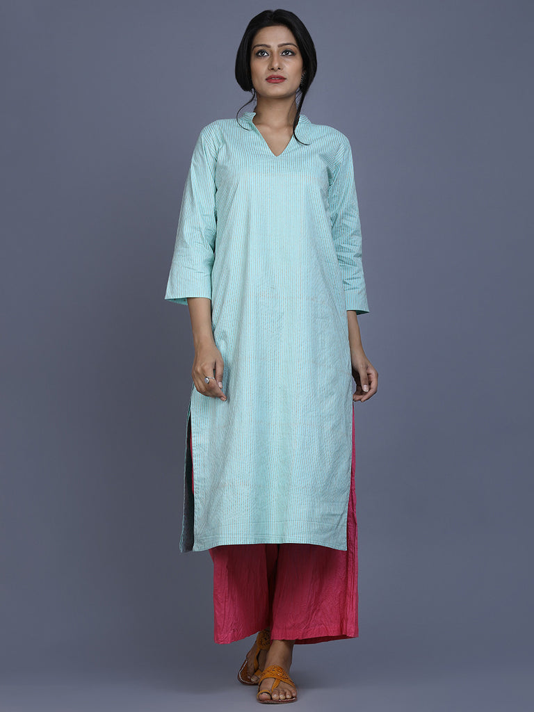 Mint Green Cotton Block Printed Reversible Kurta