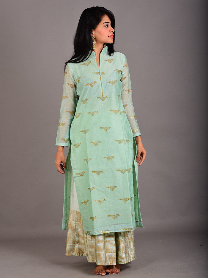 Mint Green Chanderi Foil Hand Block Printed Bird Kurta with Geometric Print Palazzo