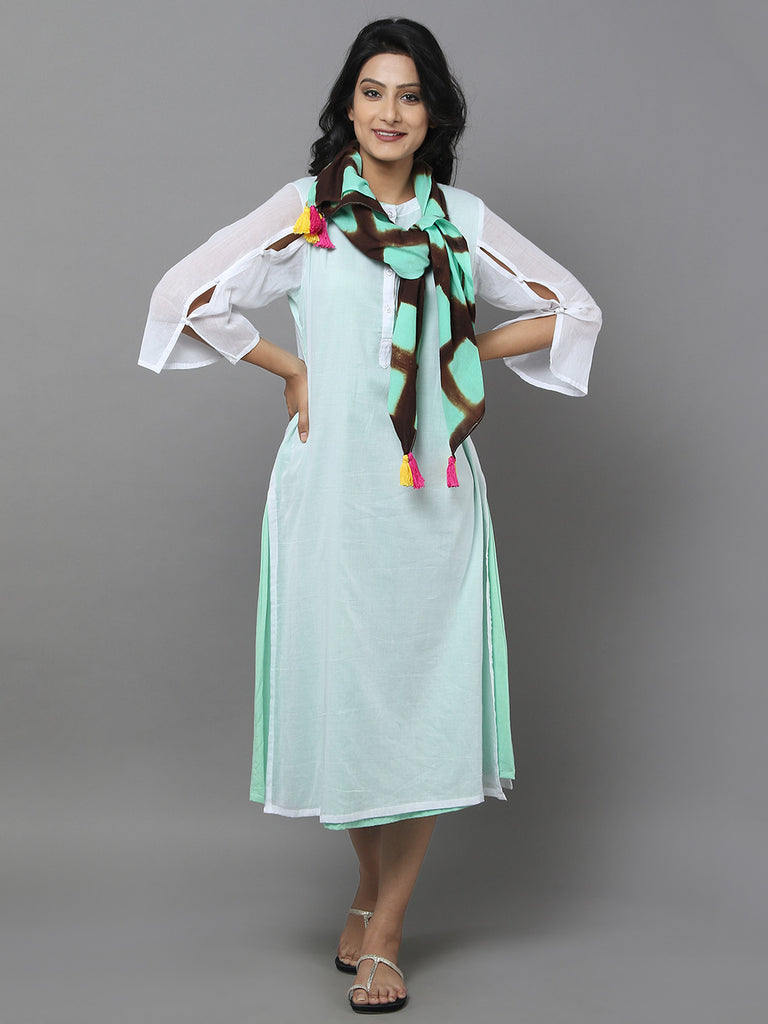 Mint Green Mul Cotton Dress with Stole - Set of 2