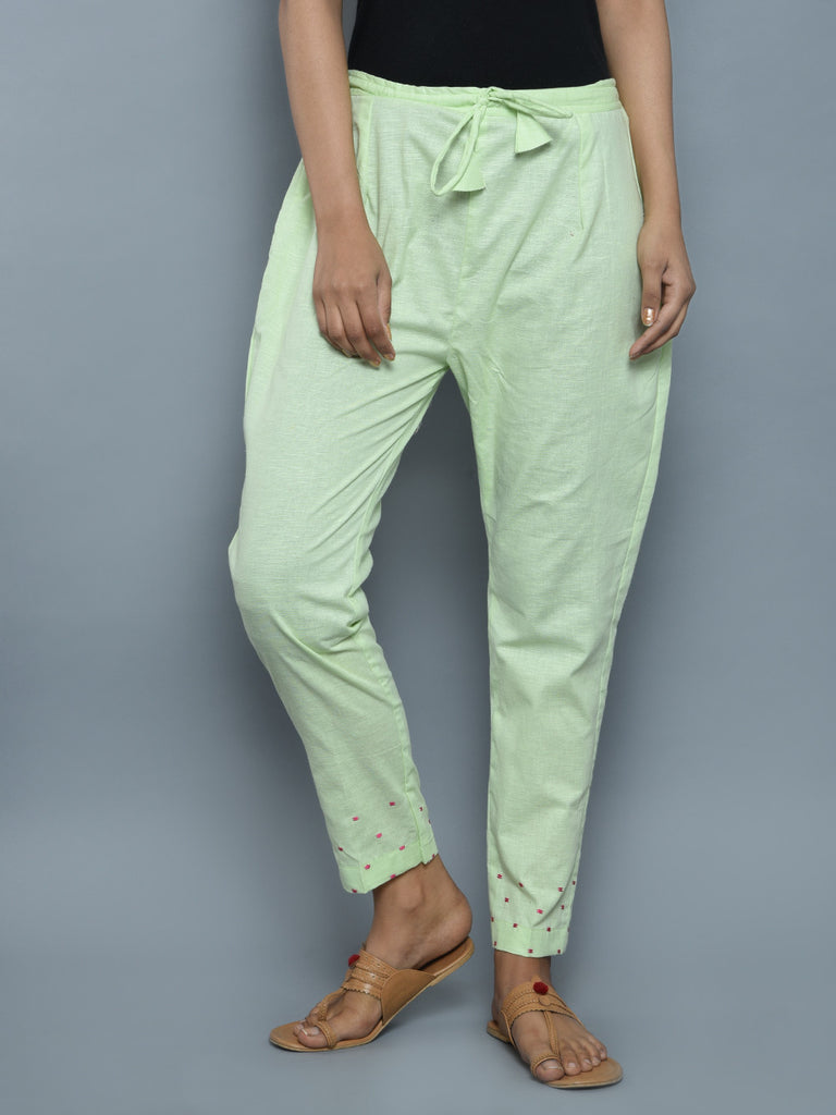 Mint Green Linen Hand Embroidered Pants