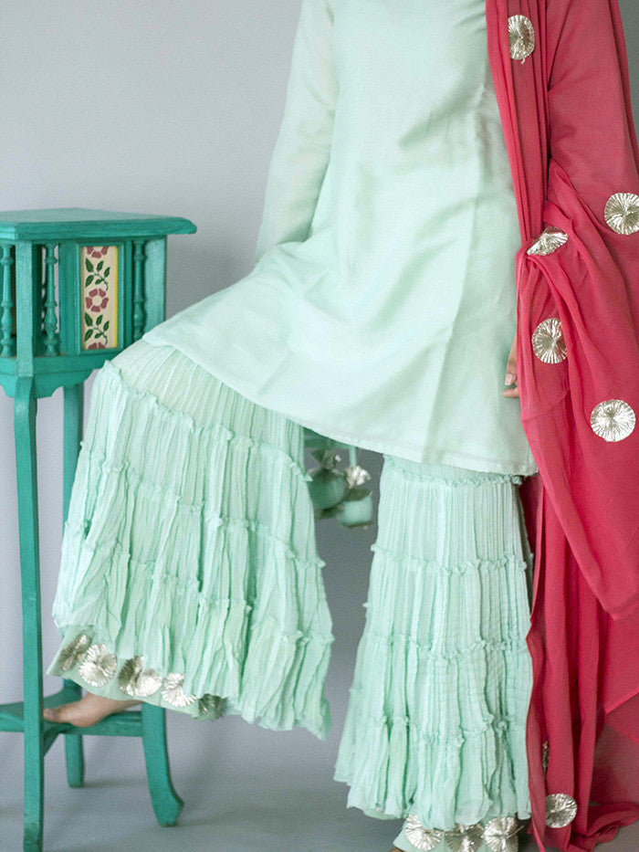 Mint Green Cotton Sharara with Gota Border