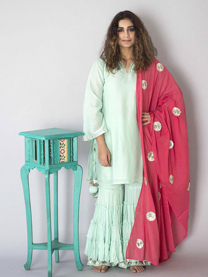 Mint Green Sharara Set with Pink Dupatta - 3 Piece