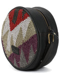 Multi Aztec Black Woolen Kilim Round Bag