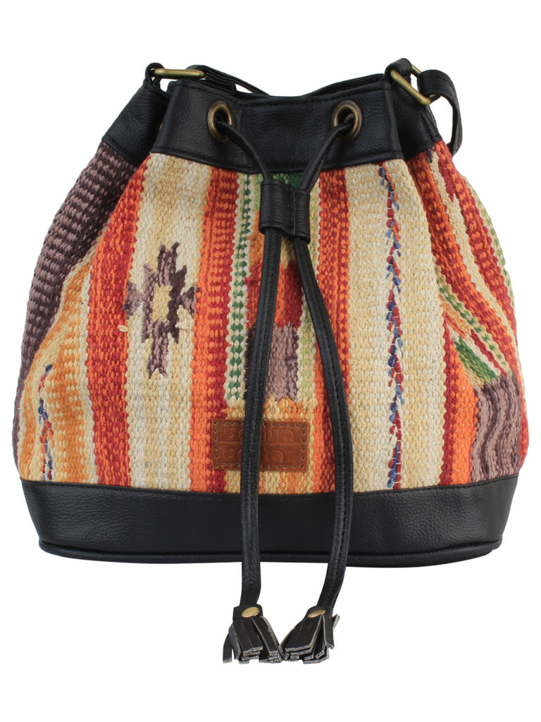 Multi Color Black Cotton Kilim Faux Leather Bucket Bag