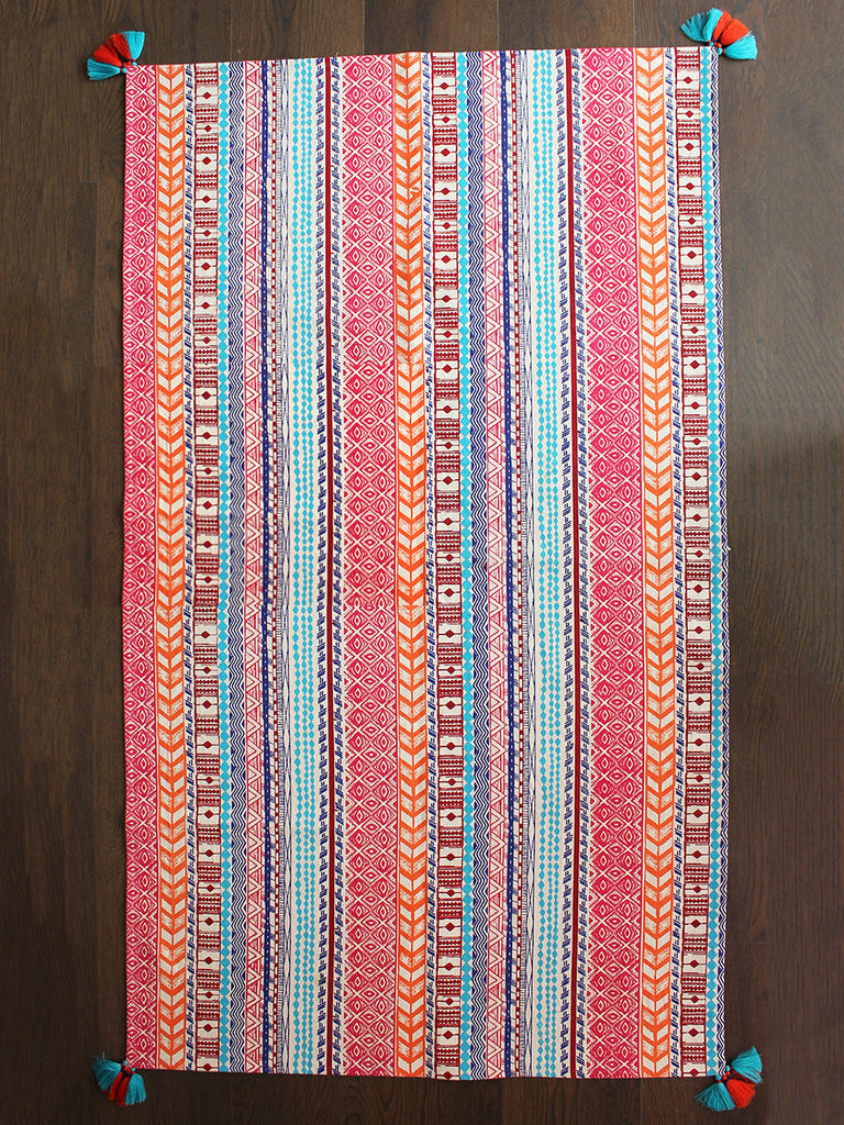 Multi Color Cotton Enarya Dhurrie with Tassels