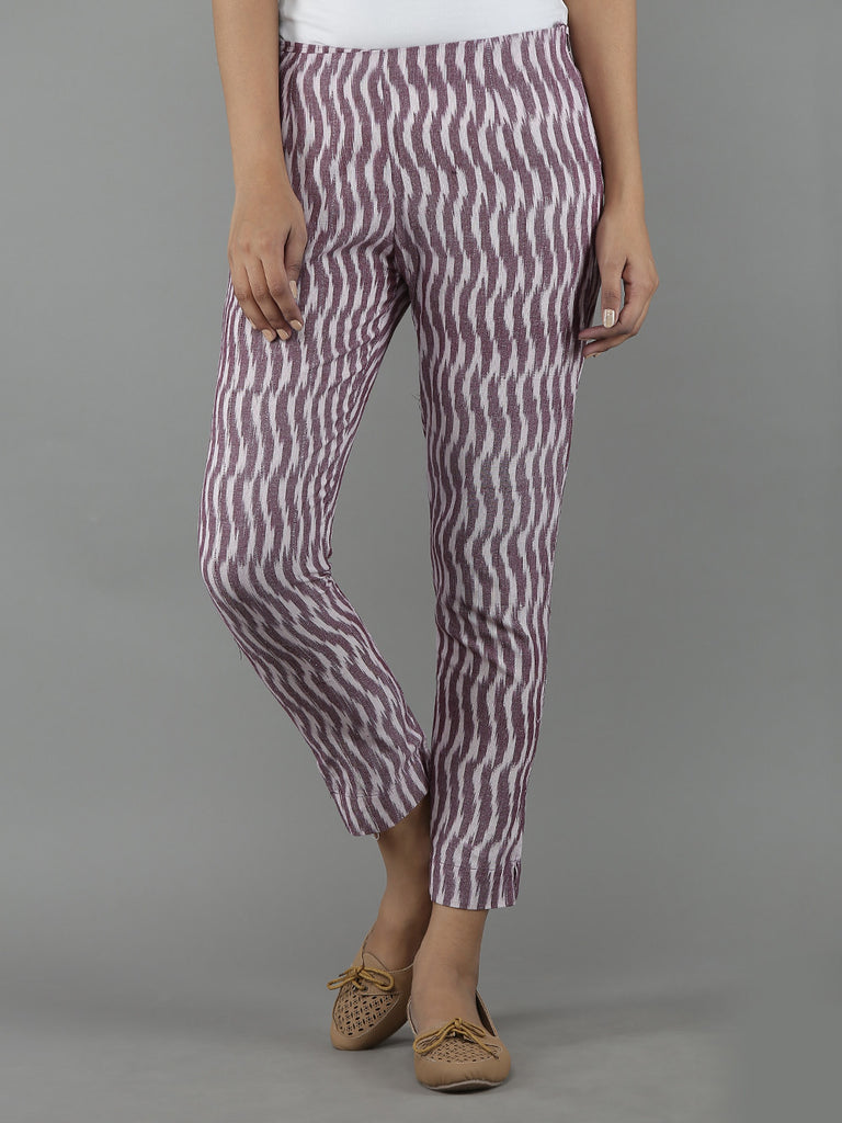Mauve Cotton Ikat Pants