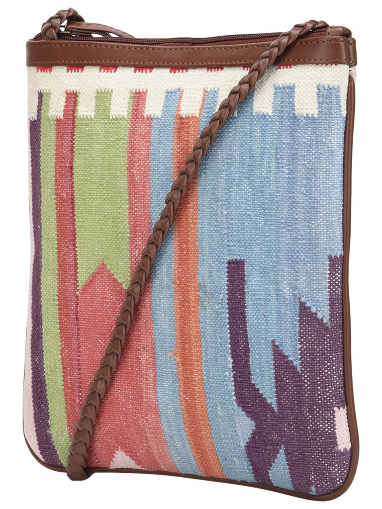 Multi Color Cotton Kilim with Faux Leather Arsiya U Sling Bag