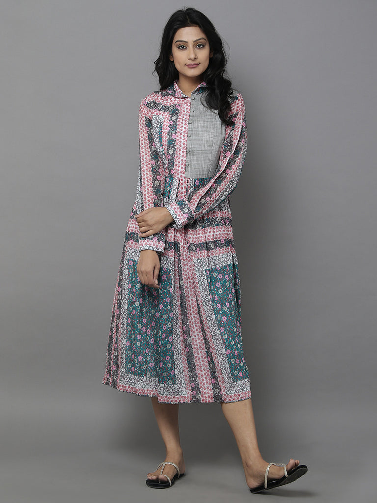Multi Color Cotton Silk Vintage Dress