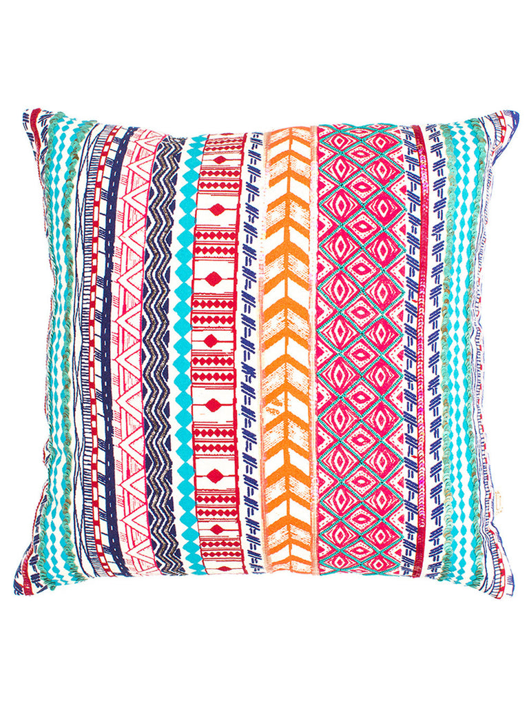 Multi Color Enarya Beaded Cotton Cushion Cover