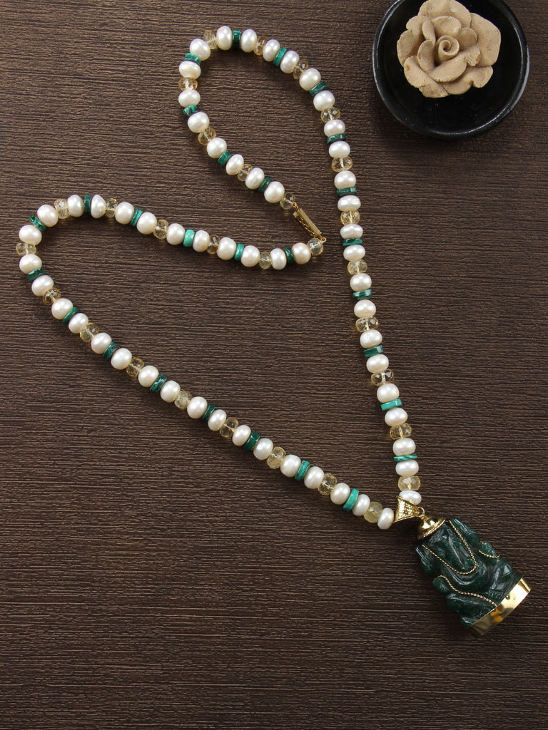 Multi Color Jade Ganesha Pendant in Citrine, Malachite and Pearl String Necklace