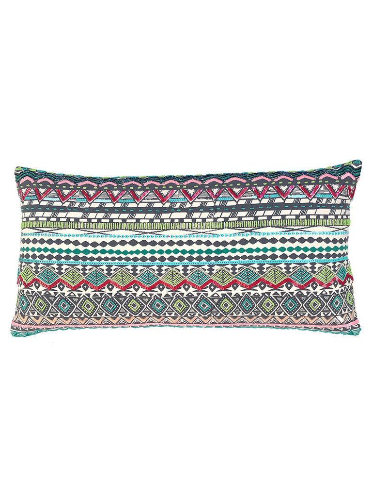 Multi Color Shira Beaded Cotton Cushion Cover