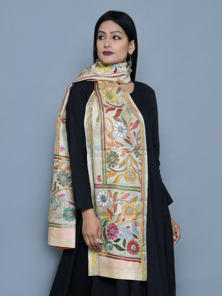 Multi Color Silk Blossom Kantha Stole