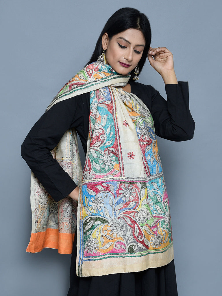 Multi Color Silk Cherry Patio Kantha Stole