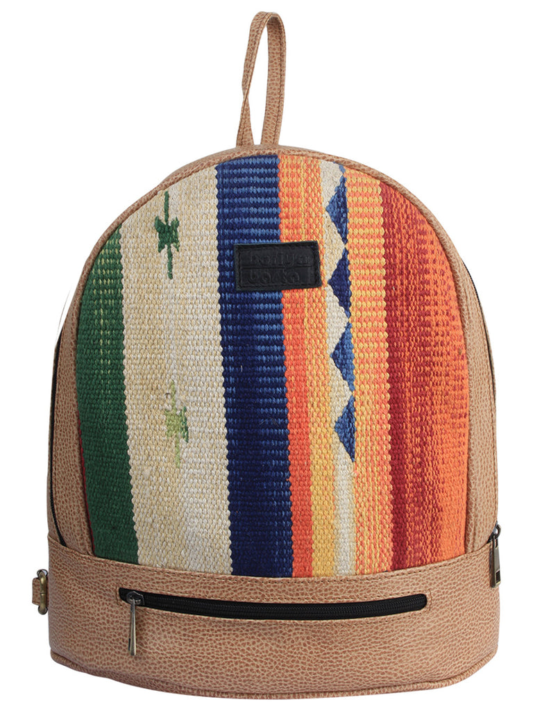 Multi Color Tan Cotton Kilim Faux Leather Back Pack Bag