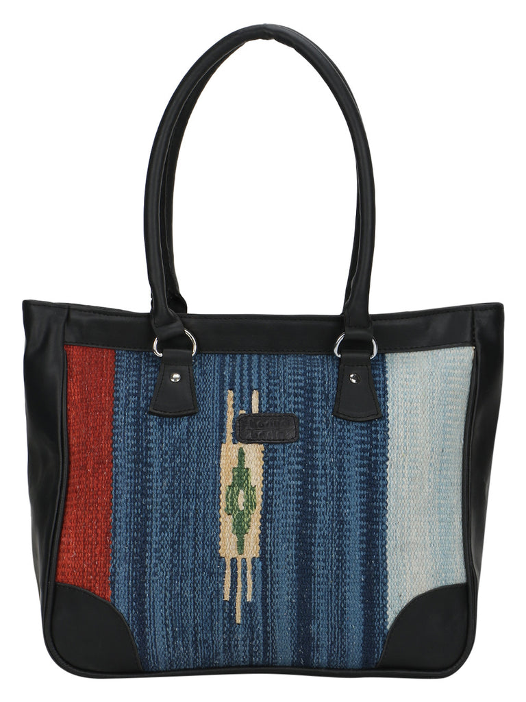 Multi color Kilim Faux Leather Tote Bag