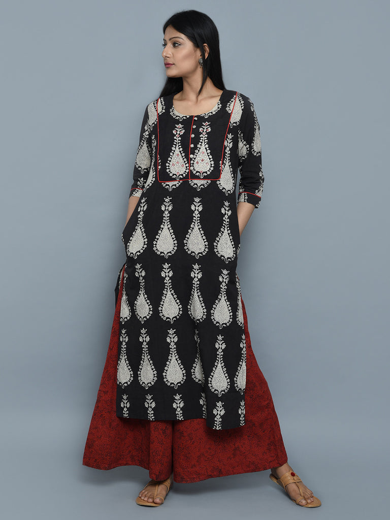 Black Cotton Hand Block Printed Kurta with Red Palazzo -Set of 2