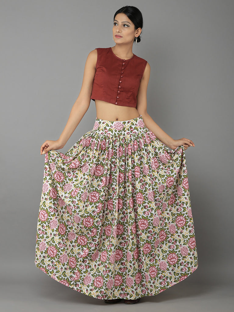 Marsala Crop Top with Multi Color  Cotton Mulmul Skirt - Set of 2