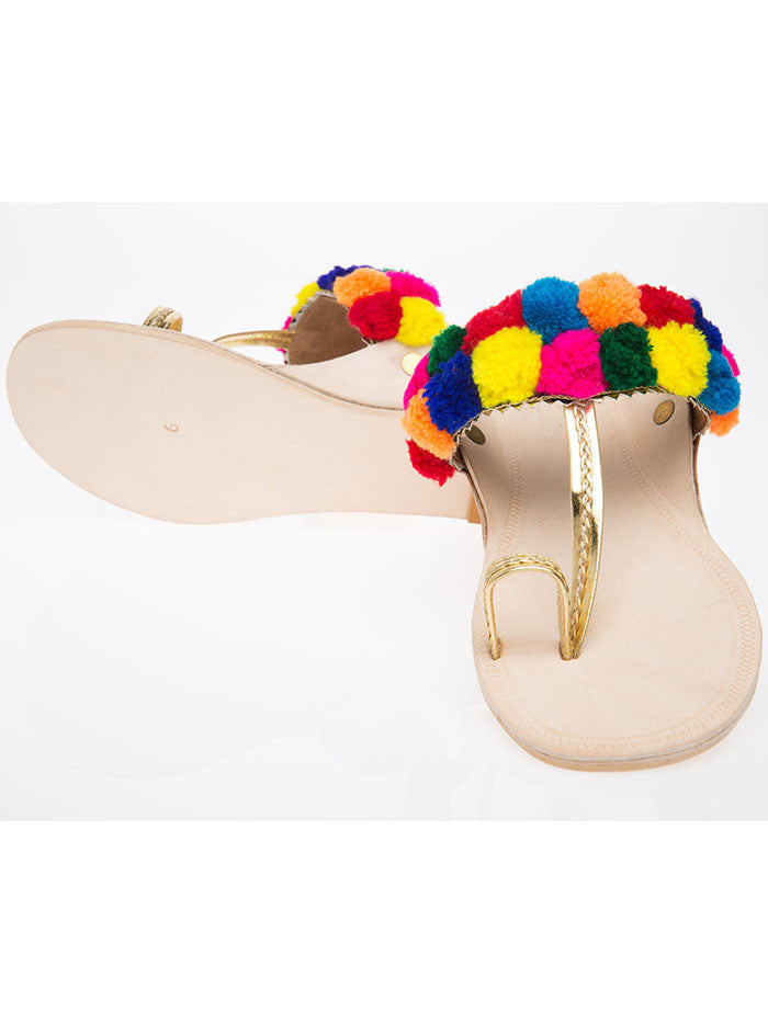 Multicolor Leatherette Handcrafted Kolhapuris