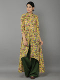 Multicolor Yellow Mulmul Cotton High Low Cape with Green Flared Pants
