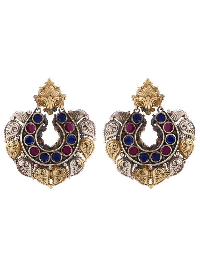 Multicolor Stones Dual Plated Earrings