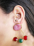 Multicolor Druzy Chain Drop Earrings