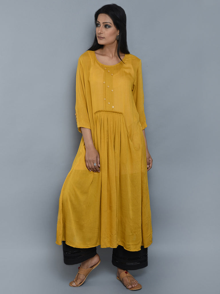 Mustard Center Pleated Viscose Crepe Kurta and Black Palazzo - Set of 2