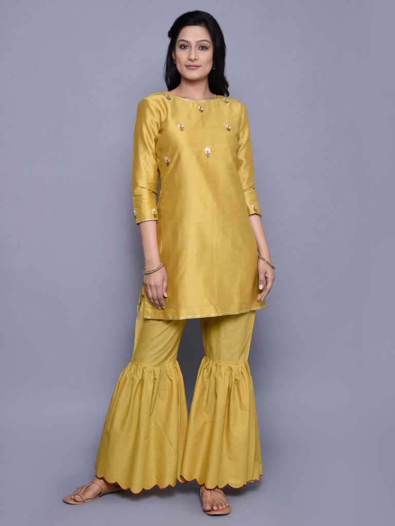 Mustard Chanderi Embroidered Kurta with Cotton Scalloped Gharara - Set of 2