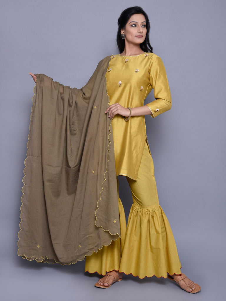 Olive Green Embroidered Mulmul Dupatta