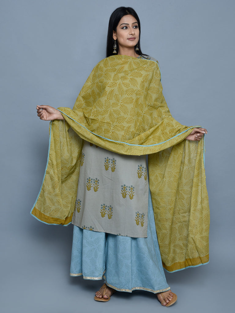 Mustard Cotton Block Printed Dupatta with Blue Lace