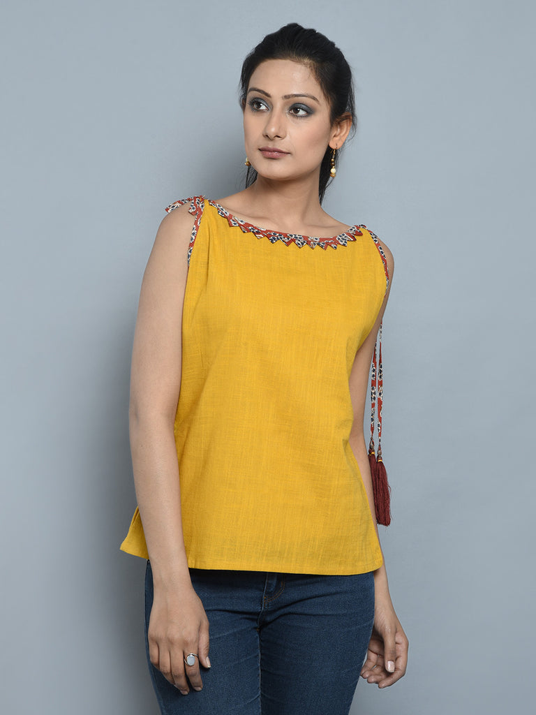 Mustard Cotton Cambric Tassel Top
