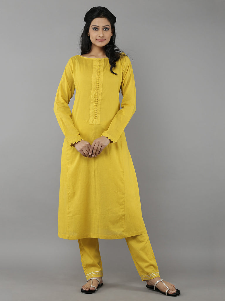 Mustard Cotton Mul Kurta