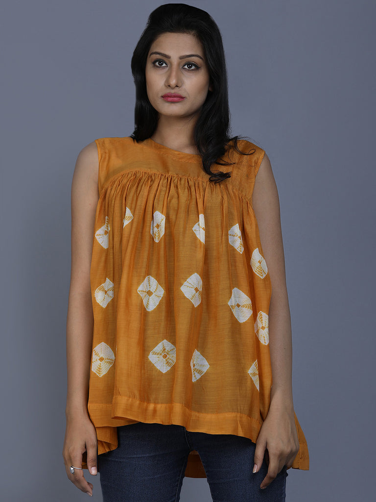 Mustard Cotton Silk Bandhej Top