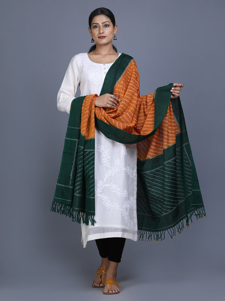 Mustard Green Cotton Ikat Dupatta