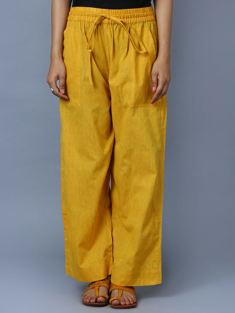 Mustard Mangalgiri Cotton Trousers