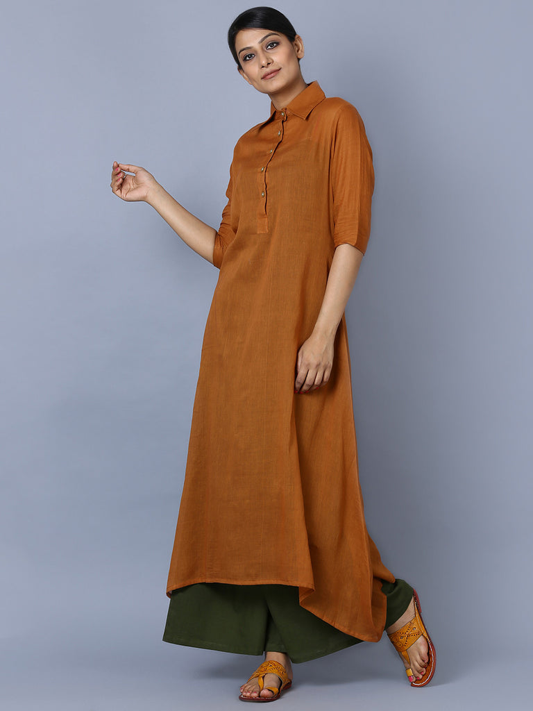 Brown Mulmul Shirt Collar Kurta