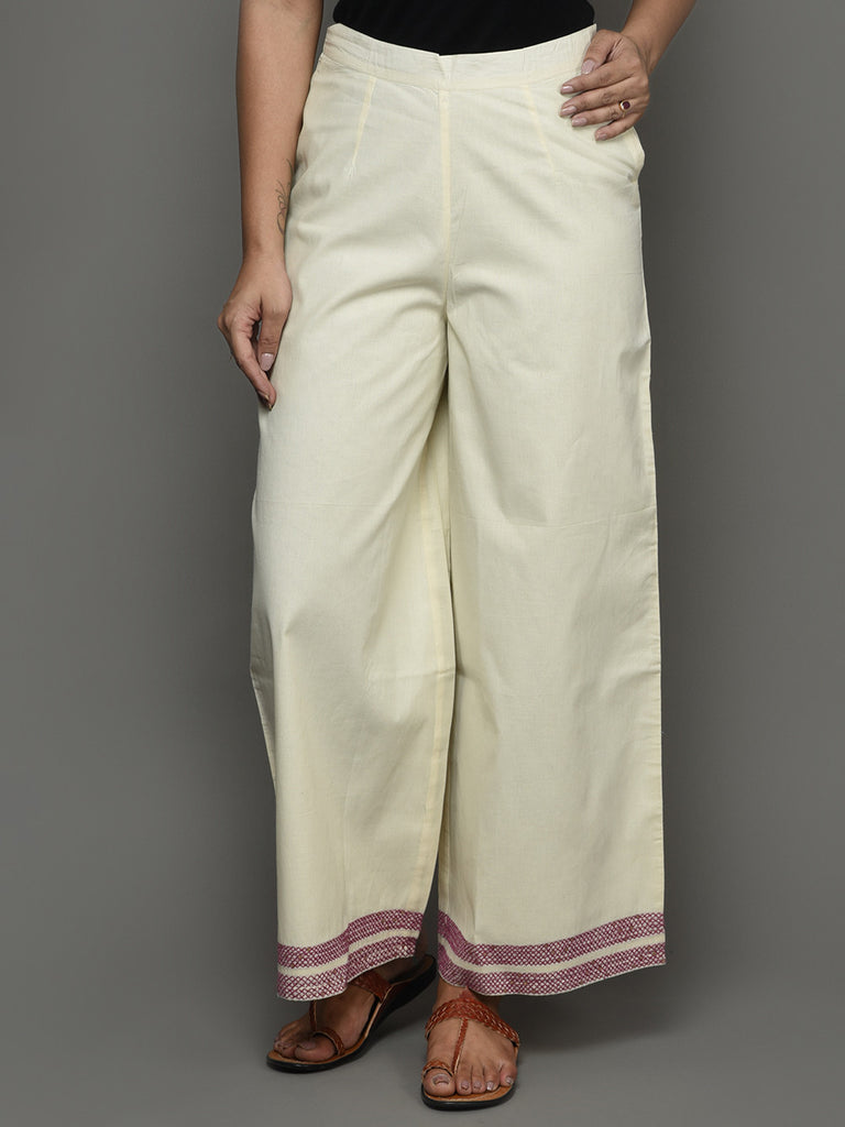 Off White Cotton Hand Embroidered Pants