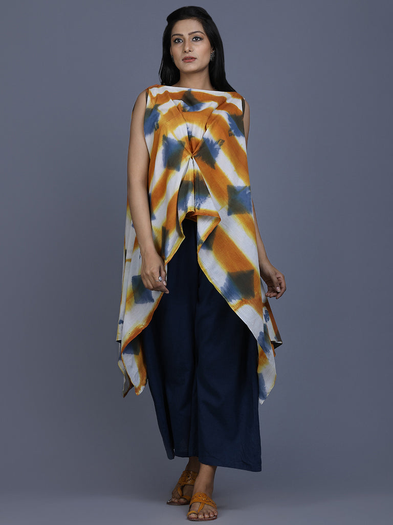 Mustard Off White Blue Cotton Shibori Dyed Asymmetric Top