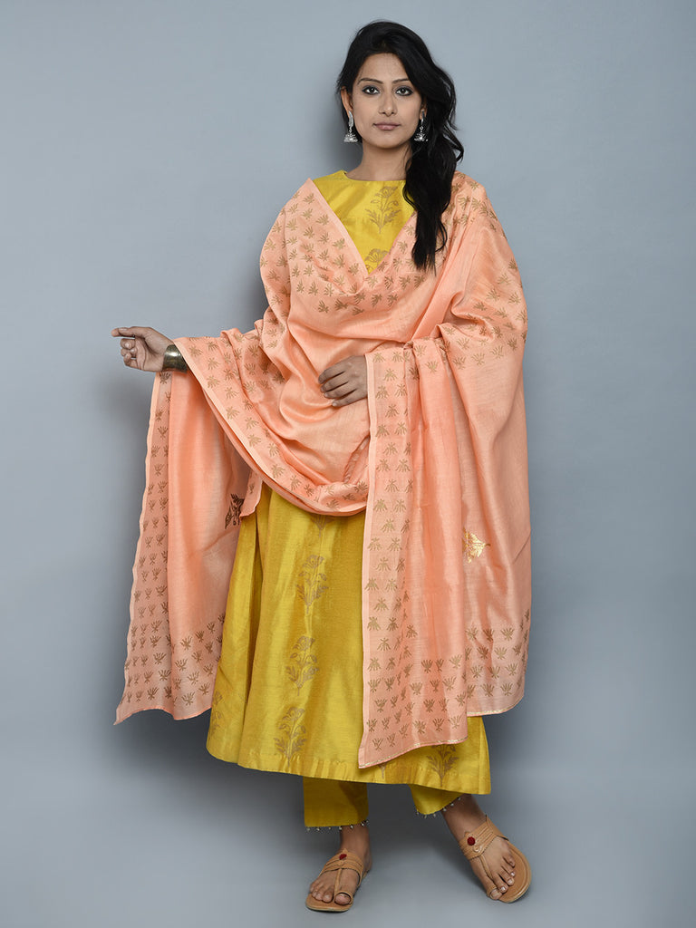 Mustard Peach Block Printed Cotton Silk Chanderi Suit - Set of 3