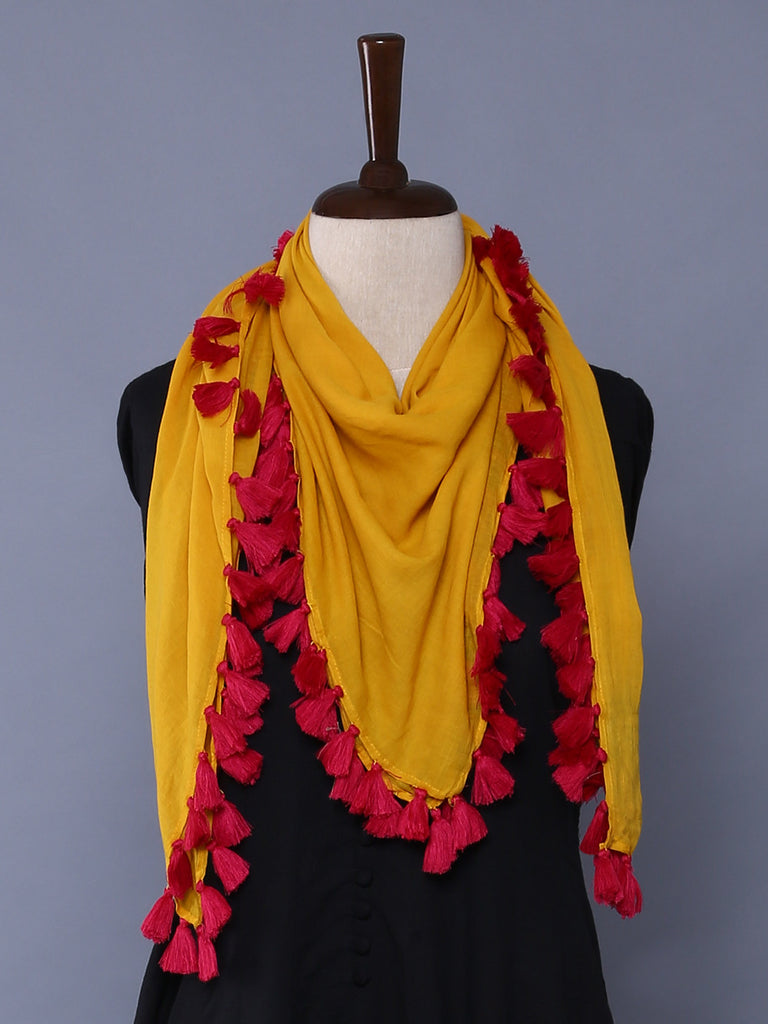 Mustard Pink Cotton Mulmul Square Scarf with Tassels