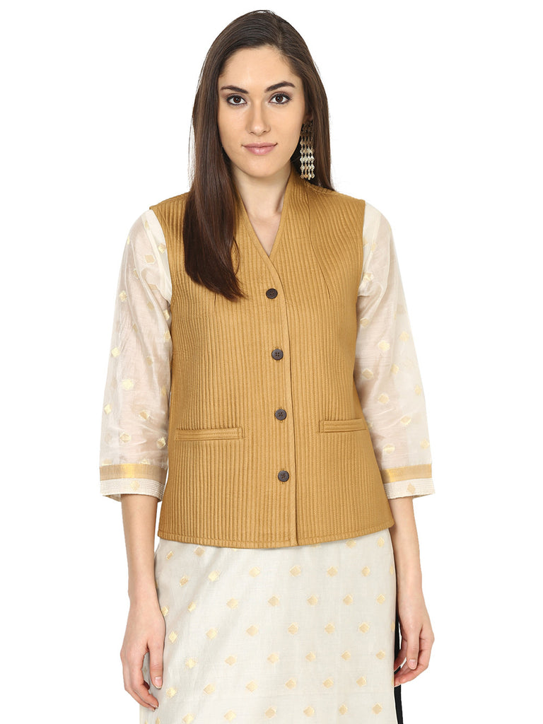 Mustard Tussar Cotton Quilted Jacket