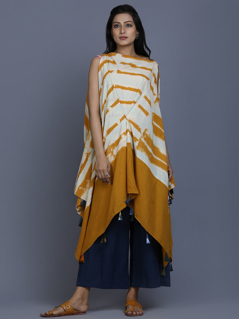 Yellow White Cotton Shibori Dyed Tunic cum Dress
