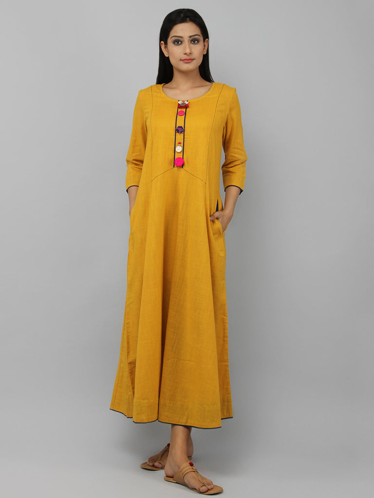 Mustard Yellow Cotton Maxi Dress