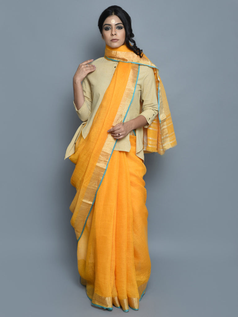 Mustard Yellow Handwoven Linen Saree