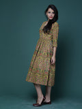 Mustard Mughal Motif Block Printed Cotton Midi Dress