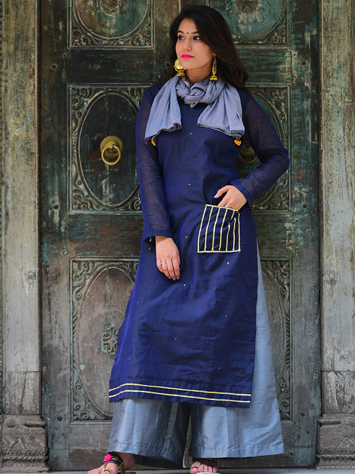 Navy Blue Chanderi Kurta with Bluish Grey Palazzo and Bird Tassel Scarf  - Set of 3